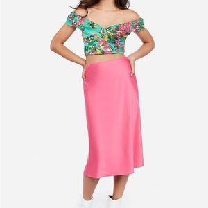 Express x Rocky Barnes Pink Satin Midi Skirt